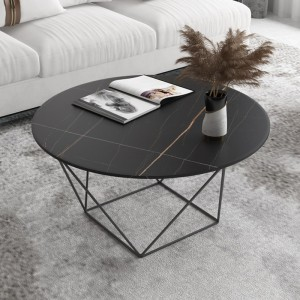 北欧大理石岩板茶几圆形现代简约客厅的轻奢茶几桌小户型家用茶桌
