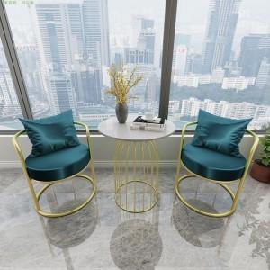 北欧凳子网红椅子家用轻奢休闲靠背椅现代简约铁艺ins阳台小桌椅
