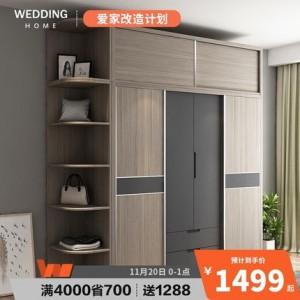 北欧推拉门衣柜现代简约组装家用卧室柜子出租房用收纳经济储物柜