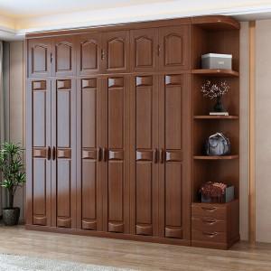 全实木衣柜原木中式家用卧室大衣橱现代简约3四5六门木质整体家具