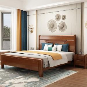 实木床双人婚床现代简约中式主卧床1.8米1.5带软包儿童高箱储物床