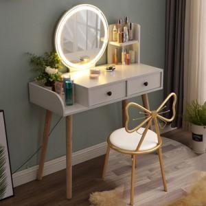 带灯梳妆台现代简约北欧卧室化妆台少女网红ins风化妆桌子小户型