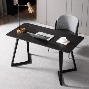 意式岩板书桌现代简约写字台极简轻奢家用书房办公电脑桌椅组合