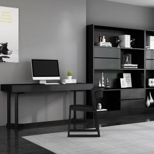 黑色书柜落地简约现代北欧办公室实木书架置物架书房家具家用学生