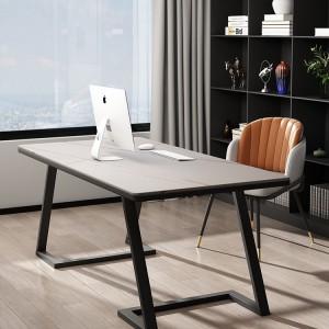 高端意式轻奢极简办公桌简约现代岩板书桌北欧家用书房电脑桌家具