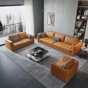办公沙发真皮简约商务接待室会客区休闲办公室沙发茶几组合三人位