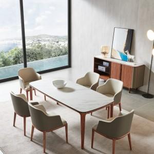 紫孔雀现代简约北欧风实木餐桌实木岩板餐厅休闲家用