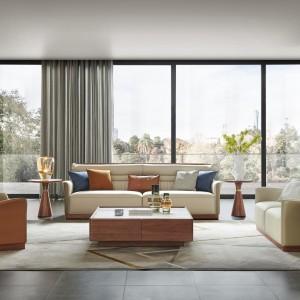 紫孔雀现代简约北欧风欧式真皮实木沙发客厅休闲家用