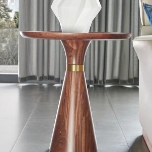 紫孔雀现代简约北欧风实木角几岩板角几客厅休闲美观家用