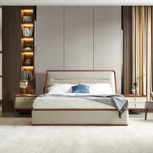 紫孔雀现代简约北欧风实木床床卧室真皮床仿皮布艺仿羊绒科技布床休闲美观家用