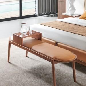 紫孔雀现代简约北欧风实木超纤皮真皮床尾凳卧室休闲美观家用