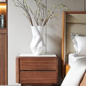 紫孔雀现代简约北欧风实木床头柜岩板卧室休闲收纳美观家用