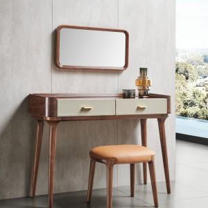 紫孔雀现代简约北欧风实木超纤妆台