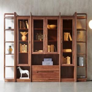 紫孔雀现代简约北欧风实木书柜书房书架收纳美观家用