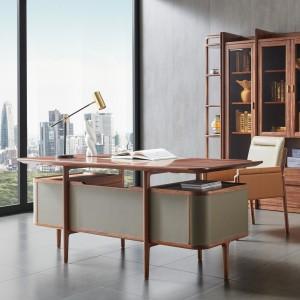 紫孔雀现代简约北欧风实木超纤皮书桌书房办公桌休闲美观家用